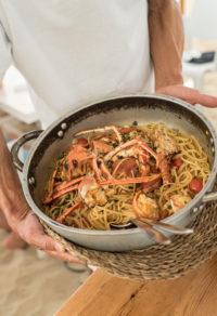 Restaurante Juan y Andrea en Formentera. Pasta con marisco