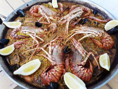 Restaurante Juan y Andrea en Formentera. Paella de bogavantes